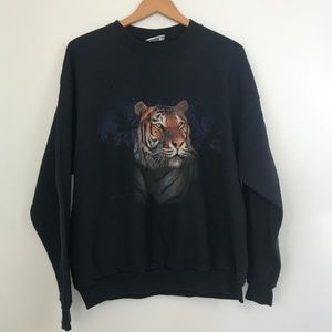 Vintage Tiger Screen Print Front Back Crewneck